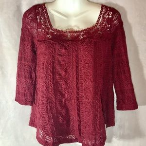 Anthropologie Maroon Lace 3/4 Sleeve Top, XS